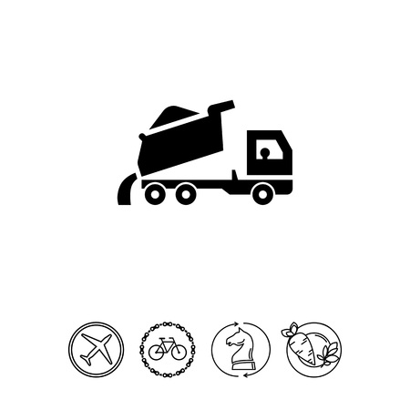 unloading: Icon of unloading dump truck Illustration