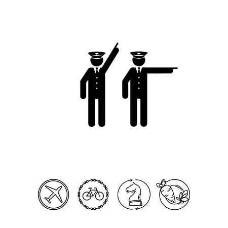 Two policemen pointing. Occupation, protection, arresting. Police concept. Can be used for topics like police, law, criminality. Illustration
