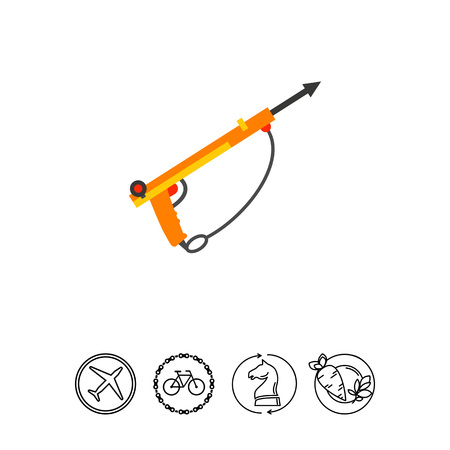speargun: Speargun for underwater hunting. Diving, sharp, catch. Underwater hunting concept. Can be used for topics like hunting, food industry, nature. Illustration