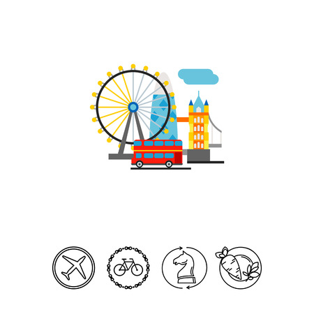 Top tourist attractions in United Kingdom. Sightseeing, famous, construction. London concept. Can be used for topics like England, tourism, architecture. Illustration