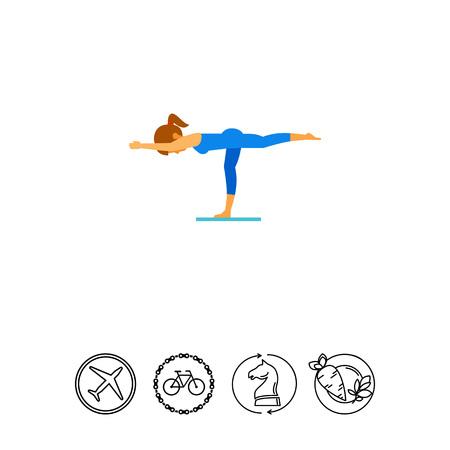 Woman doing yoga in virabhadrasana pose, side view. Exercise, strength, balance. Asana concept. Can be used for topics like yoga, health, fitness. Illustration