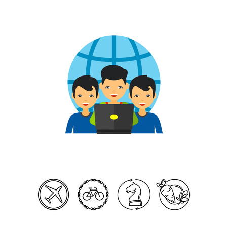 Three men looking at laptop display with globe in background. Discussion, international, team. Virtual team concept. Can be used for topics like business, management, planning. Illustration