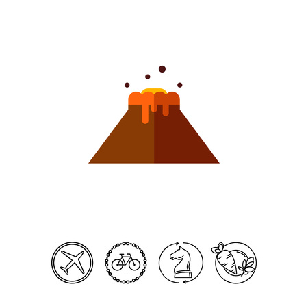 Multicolored vector icon of volcano eruption and flowing lava