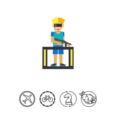 Multicolored flat icon of man in special glasses and with blaster playing VR game