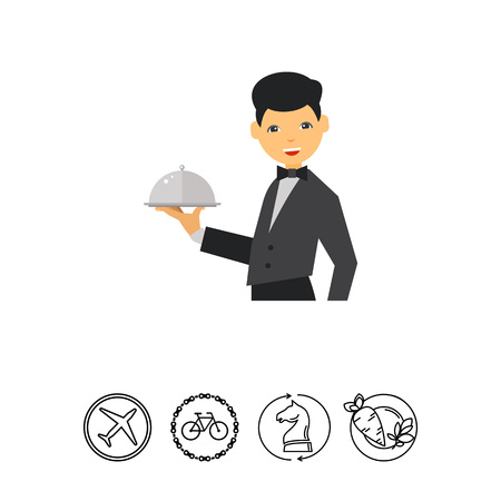 Waiter serving dish under cover. Meal, uniform, luxury. Restaurant concept. Can be used for topics like cooking, restaurant business, food. Illustration
