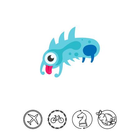 bacteria cartoon: Virus cartoon character flat icon. Multicolored vector illustration of bacterium showing its tongue