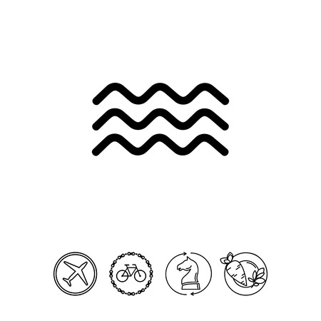 Monochrome Vector Icon Of Three Squiggly Lines Representing Water