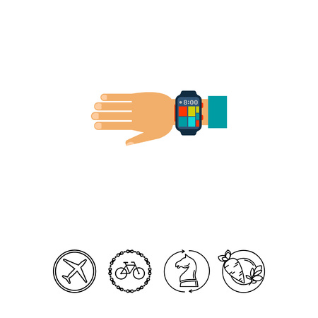 computerized: Wearable smartwatch on human hand. Portability, future, time. Smartwatch concept. Can be used for topics like technology, electronics, science.