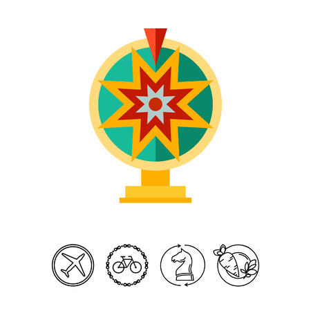 Multicolored vector icon of toy wheel of fortune
