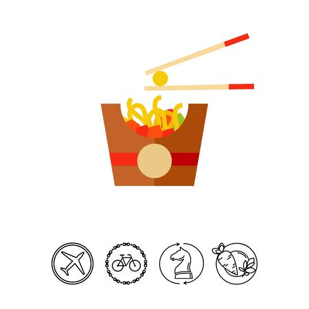Icon of cheese balls in box of noodle. Lunch, takeaway food, diet. Fast food concept. Can be used for topics like restaurant, delivery, Asian cuisine