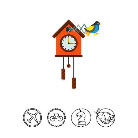 reloj cucu: Illustration of cuckoo clock. Time, clock, hour hand, minute hand. Time concept. Can be used for topics like time, clock, time measurement Vectores