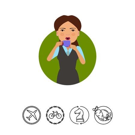 Female character, portrait of woman holding cup and drinking hot drink Illustration