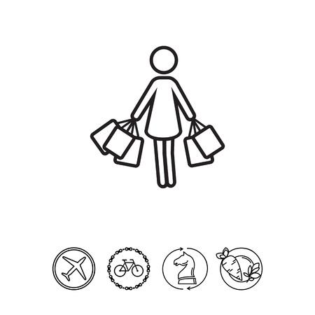 mujer en el supermercado: Mujer con bolsas de la compra  Vectores