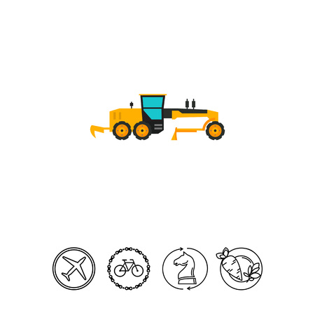 Yellow construction road grader icon