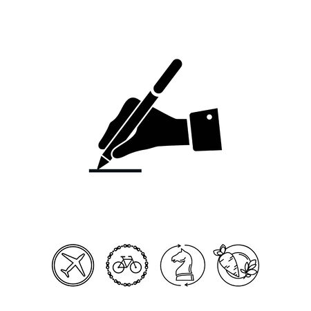 signing papers: Writing hand Illustration