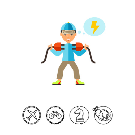 Electrician with Two Plugs Icon Illustration