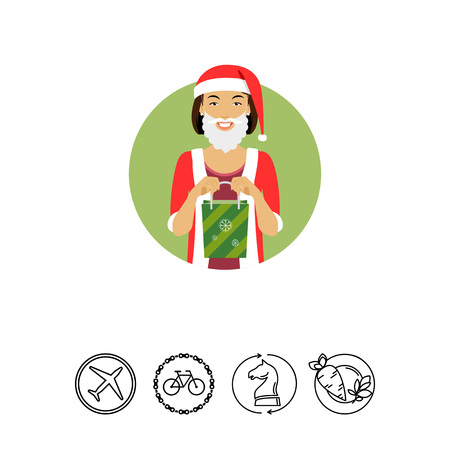Female character, portrait of smiling woman wearing Santa costume, holding green gift bag Illustration