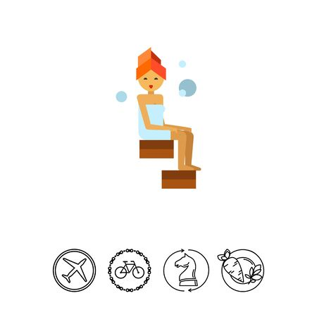 Multicolored vector icon of woman with orange towel sitting in steamroom