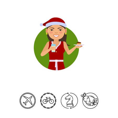 earrings: Female character, portrait of smiling woman wearing red Santa costume, holding cake and glass of milk