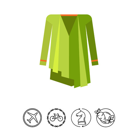Multicolored vector icon of green woman ponchocoat