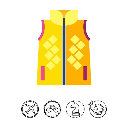 Multicolored vector icon of yellow woman vest