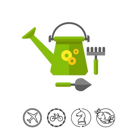 Green garden tools vector icon