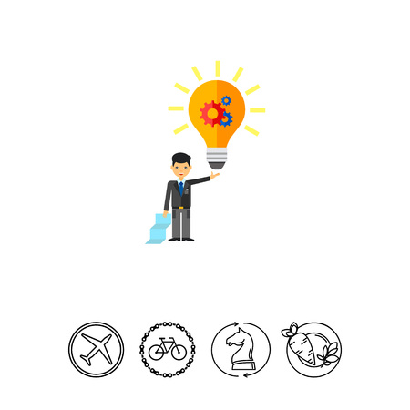 Illustration of businessman holding glowing light bulb with gear wheel. Creativity, business, idea and man.