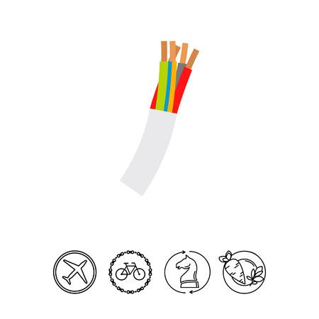 conductor: Multi-conductor Wire Cord Vector Icon. Illustration