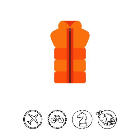 Oranje vest met rits pictogram.