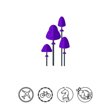 Purple psilocybin mushrooms vector icon.