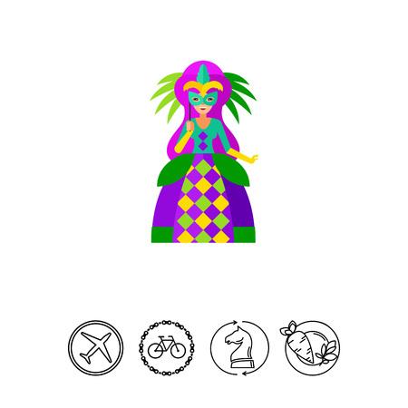 mardigras: Mardi Gras queen icon Illustration