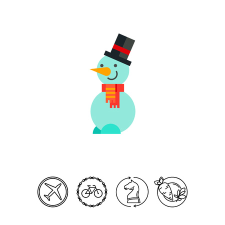 Snowman wearing hat and scarf. Figure, winter, snow. Snowman concept. Can be used for topics like Christmas, New Year, holidays. Illustration