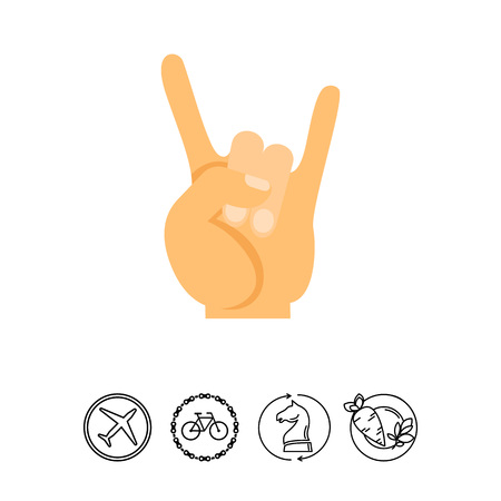 Vector Icon Of Hand Showing Rock And Roll Gesture Horns Sign