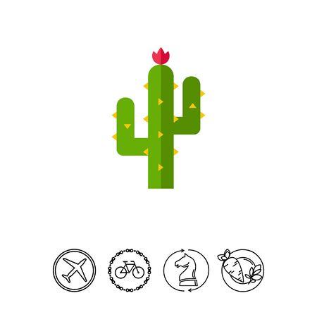 Thorny cactus in desert icon Illustration