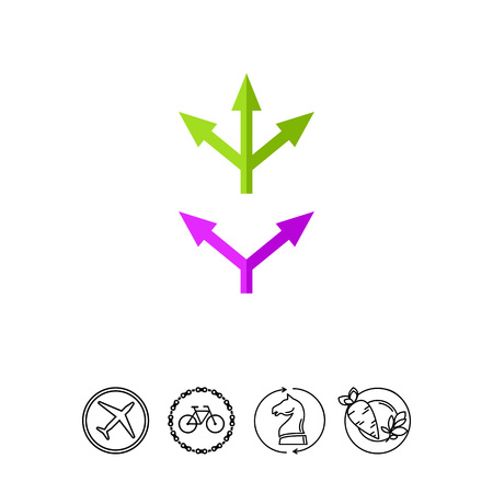Two and Three Way Arrows Icon Illustration