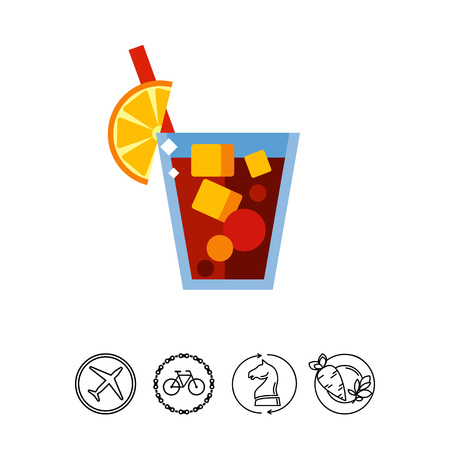 Tasty Cuba Libre drink icon Illustration