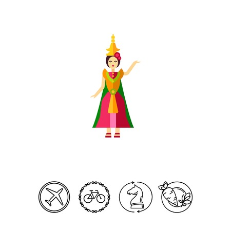 Icon of Thai dancer in colorful dress Illustration