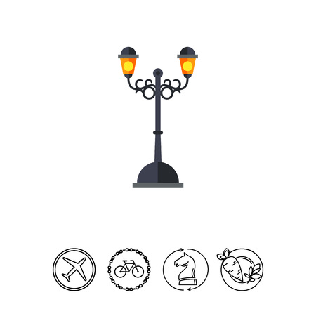 Vector icon of forged outdoor street lamp. Park, street, decorative element. Iron works concept. Can be used for topics like forging, architecture, artwork