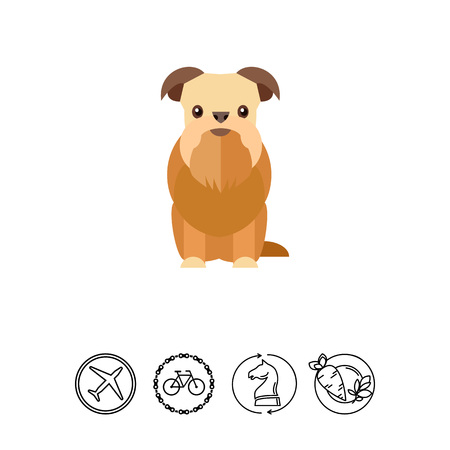 Icon of Griffon bruxellois dog. Shaggy animal, fluffy, Belgian breed. Pet concept. Can be used for topics like breed of dog, toy dog or domestic animal Illustration
