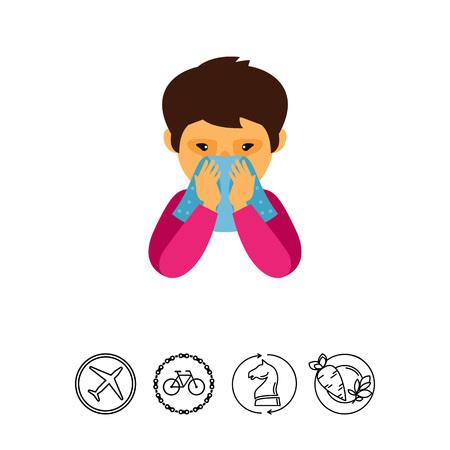 彼の鼻を吹く男のアイコン。病気、アレルギー、インフルエンザ。ヘルスケアの概念。伝染病、病気、うつ病のようなトピックに使用できます。 写真素材 - 79273083