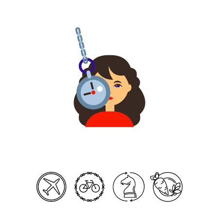 swinging: Illustration of female character and clock on chain. Woman under hypnosis, mental therapy, manipulation. Psychoanalysis concept. Can be used for topics like mental health, hypnosis, healthcare