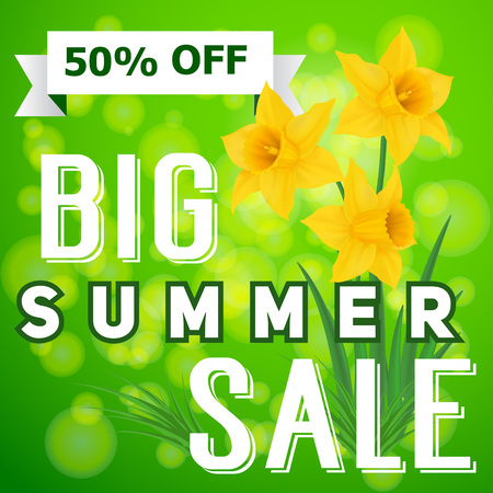 Summer Sale Lettering and Daffodils