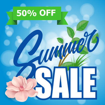 Summer Sale Lettering With Tree Twig Illustration