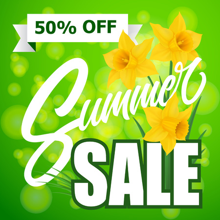 Summer Sale Lettering With Daffodils Illustration