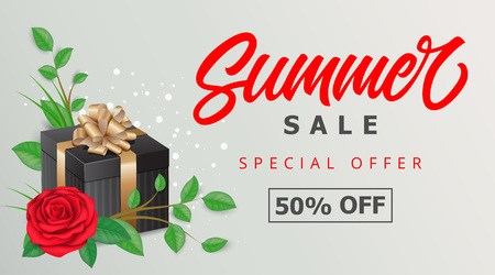 Summer Sale Offer Lettering and Gift Illustration