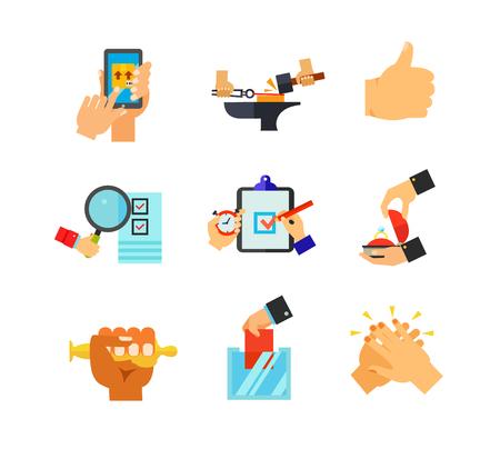 Hand sign icon set Illustration
