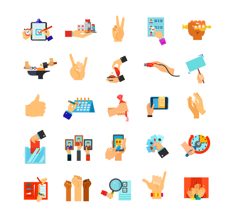 hand holding playing card: Hands holding different objects icon set Illustration