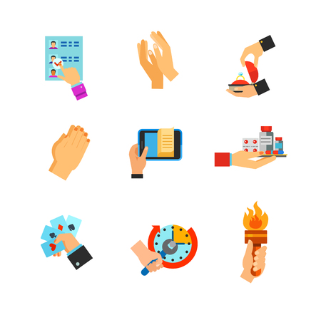 hand holding playing card: Hands with objects icon set