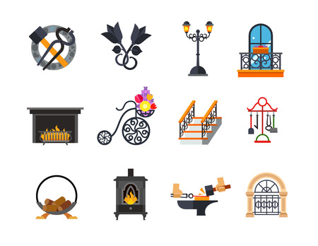 outdoor fireplace: Metalwork icon set Illustration