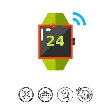 twenty four hour: Watch with number twenty four on display and arrow. Time, day, night, hour. Around clock service concept. Can be used for topics like technology, electronics, business. Illustration